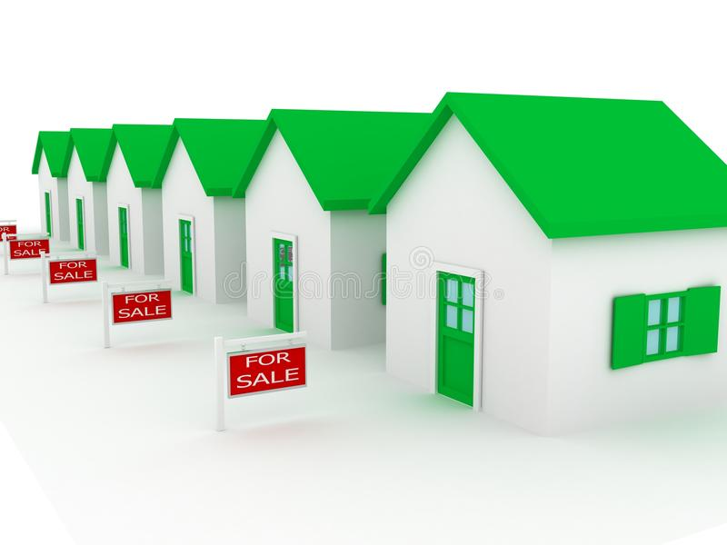 Grupo de casas na venda ilustração do vetor