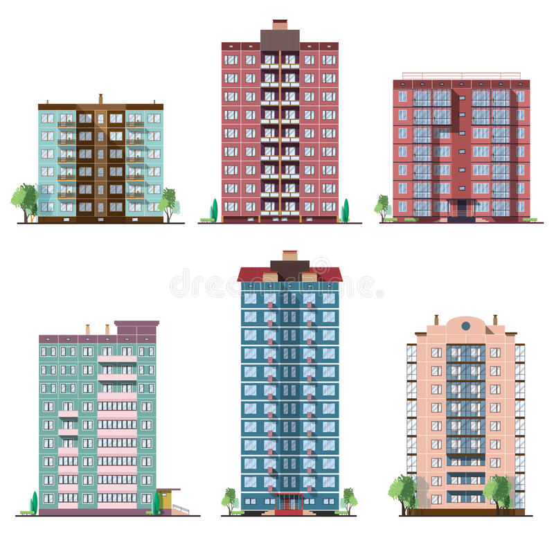 Grupo de casas residenciais do painel diferente coleção da ilustração lisa do vetor colorido ilustração stock