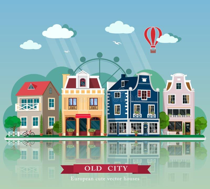 Grupo de casas velhas da cidade do vetor detalhado bonito Fachadas retros europeias da construção do estilo ilustração royalty free