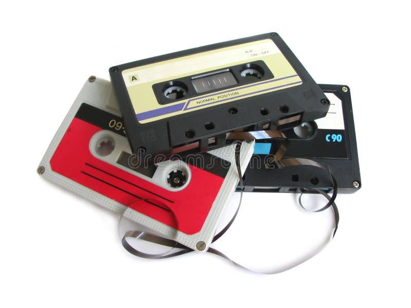 Grupo de cassetes de banda magnética imagens de stock royalty free