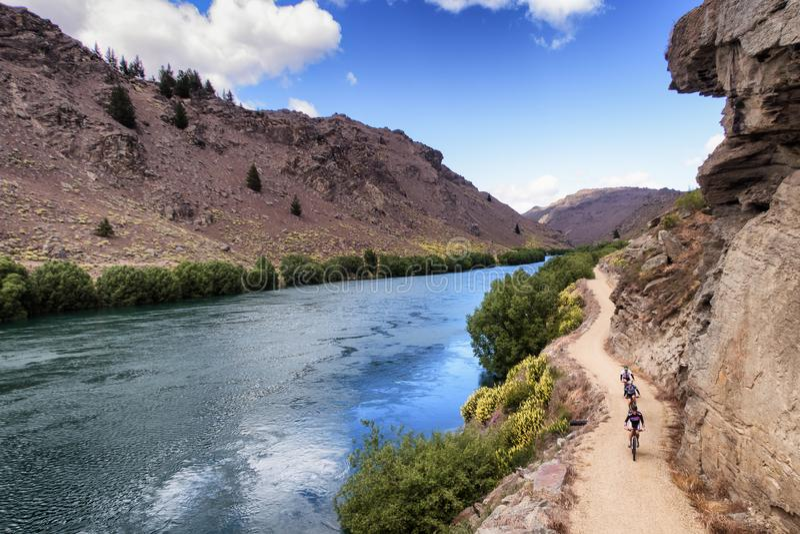 Grupo de cavaleiros da bicicleta que apreciam montando Nova Zelândia imagem de stock