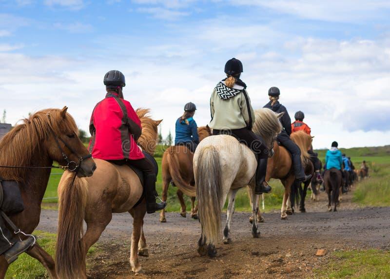 Grupo de cavaleiros de horseback em Islândia País bonito do curso imagem de stock royalty free