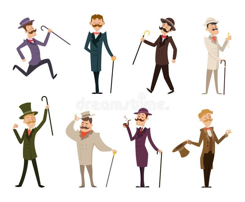 Grupo de cavalheiros ingleses do victorian Caráteres em poses dinâmicas ilustração royalty free