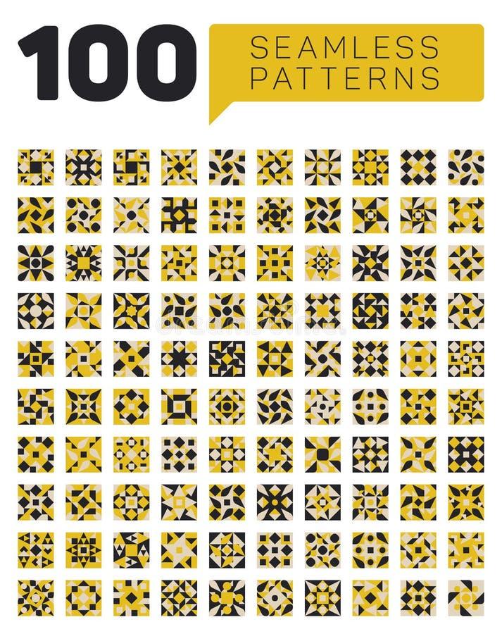 Grupo de cem testes padrões retros geométricos étnicos sem emenda em cores brancas e amarelas pretas ilustração royalty free