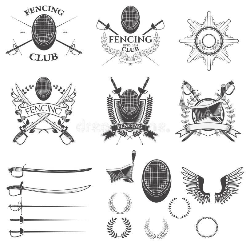 Grupo de cercar etiquetas do clube ilustração do vetor