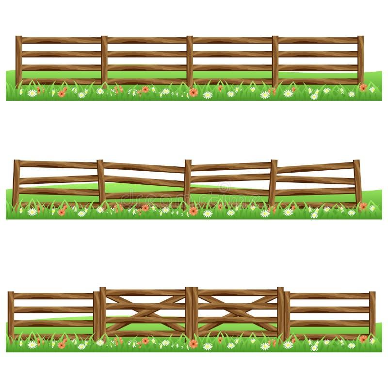Grupo de cercas de madeira da exploração agrícola isoladas no fundo branco ilustração do vetor