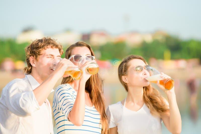 Grupo de cerveja bebendo feliz dos jovens no fotos de stock royalty free