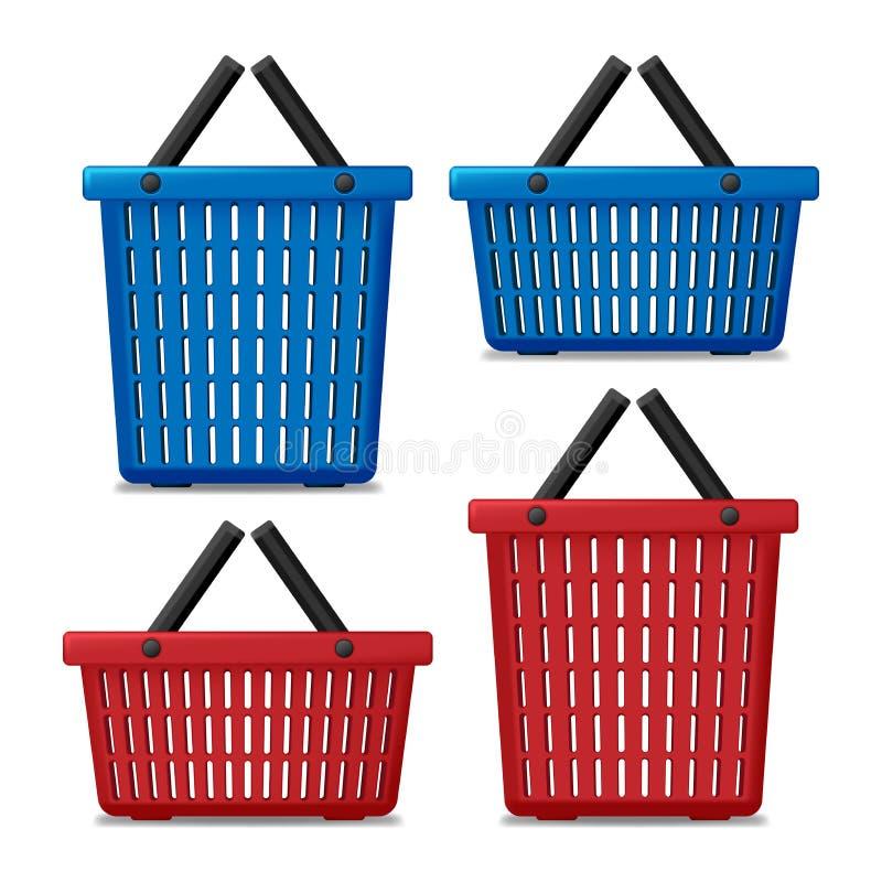 Grupo de cesta de lavanderia vazia vermelha e azul isolada Cesta a lavar com máquina de lavar Ilustração do vetor ilustração royalty free