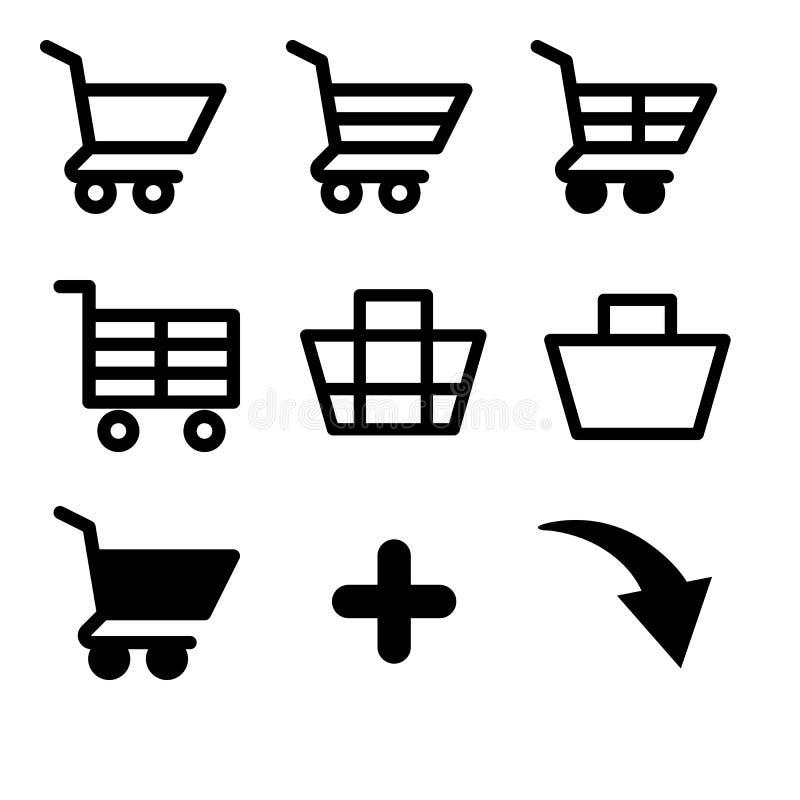Grupo de cestos de compras e de carros dos ícones do vetor ilustração do vetor