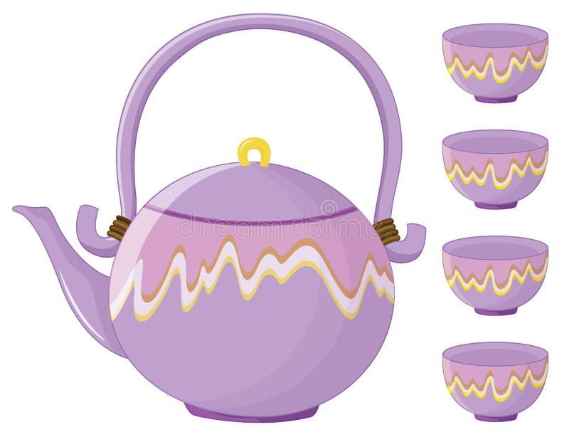 Grupo de chá ilustração royalty free