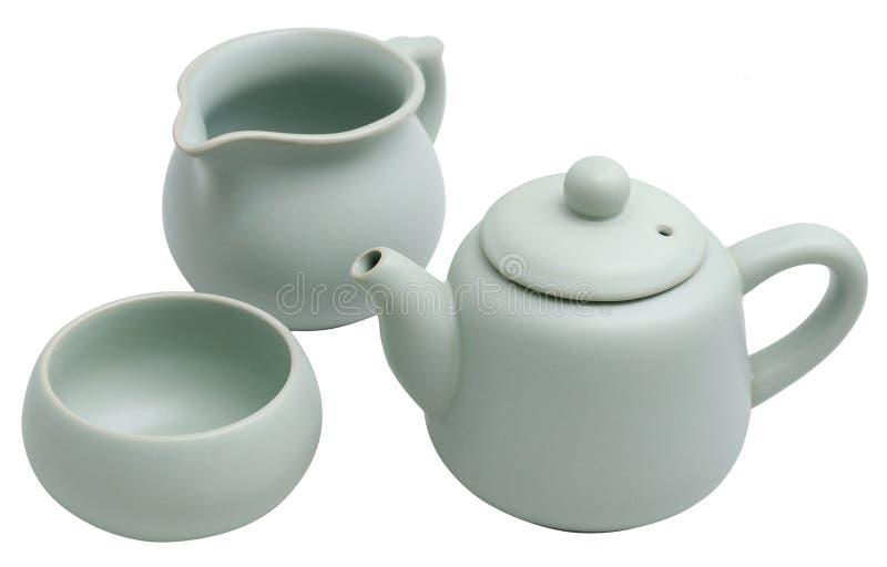 Grupo de chá chinês da terrina do Ru fotos de stock