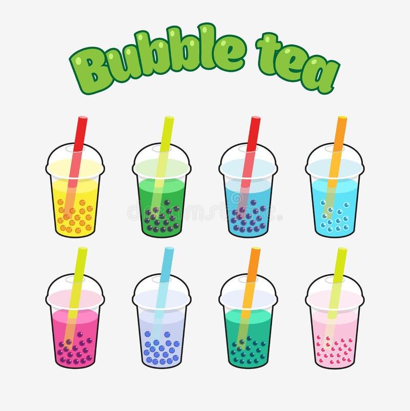 Grupo de chá da bolha fotos de stock