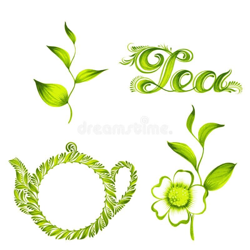Grupo de chá decorativo do ornamento ilustração royalty free