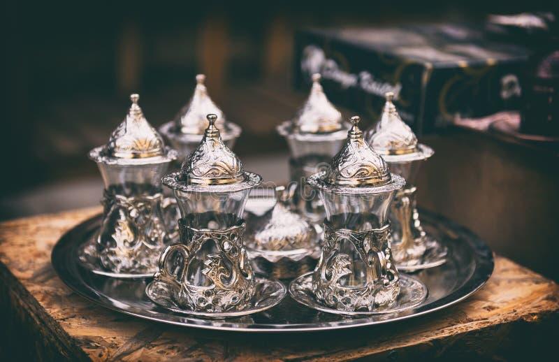 Grupo de chá do vintage, lembrança oriental foto de stock