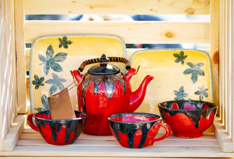Grupo de chá Handcrafted da argila fotos de stock royalty free