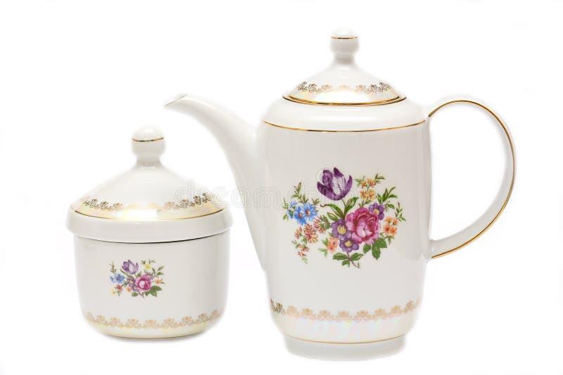 Grupo de chá moderno da porcelana fotografia de stock royalty free