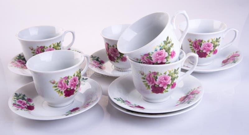 grupo de chá ou grupo de chá da porcelana da antiguidade no fundo foto de stock