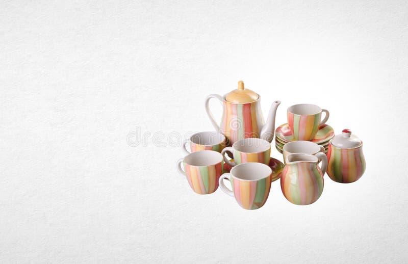 grupo de chá ou grupo de chá da porcelana da antiguidade no fundo imagens de stock