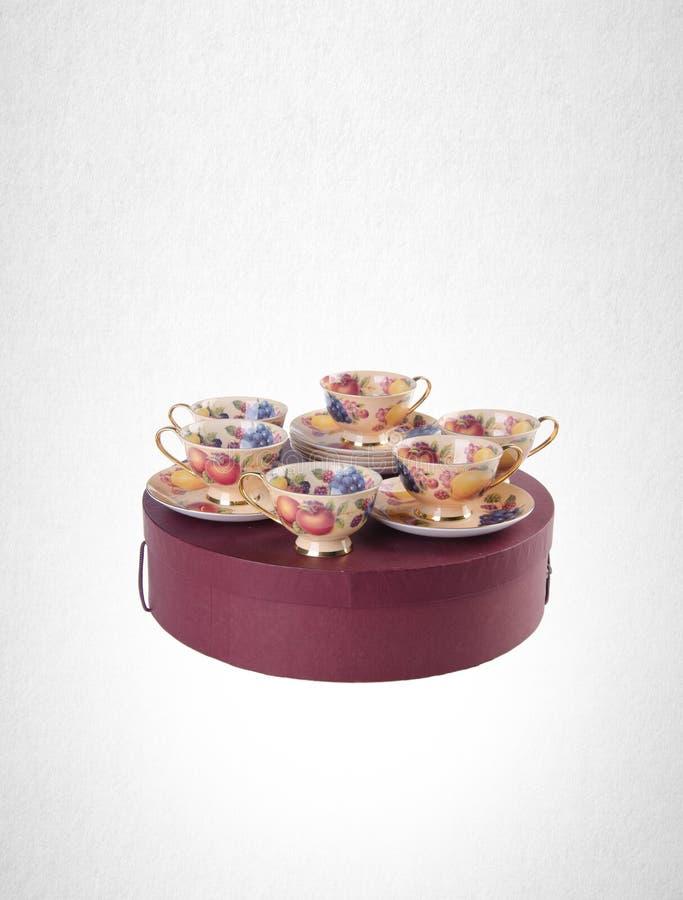 grupo de chá ou grupo de chá da porcelana da antiguidade no fundo fotografia de stock royalty free