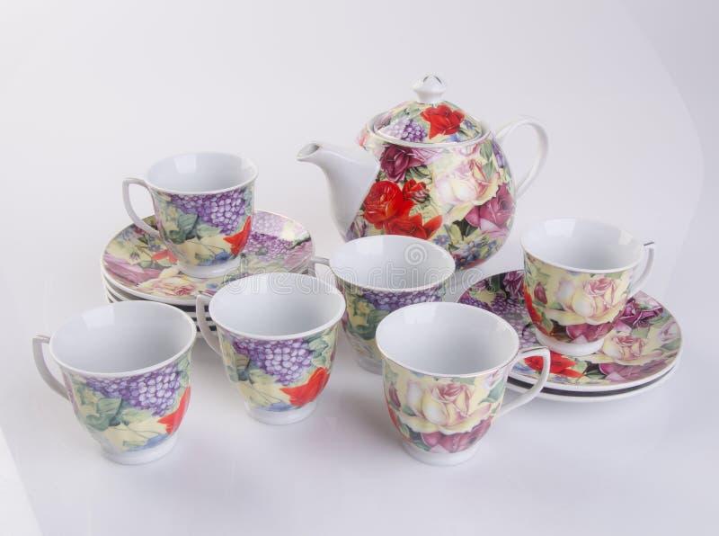 grupo de chá ou grupo de chá da porcelana da antiguidade no fundo imagens de stock royalty free