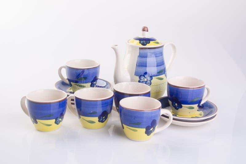 grupo de chá ou grupo de chá da porcelana da antiguidade no fundo foto de stock royalty free