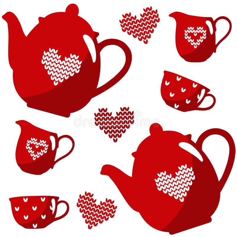 Grupo de chá sem emenda do café do Natal, ilustração isolada com teste padrão nórdico ilustração stock
