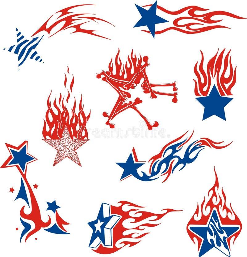 Grupo de chamas da estrela ilustração royalty free