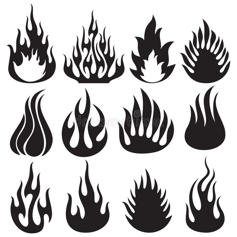 Grupo de chamas do vetor ilustração royalty free