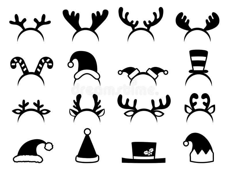 Grupo de chapéus do Natal imagens de stock