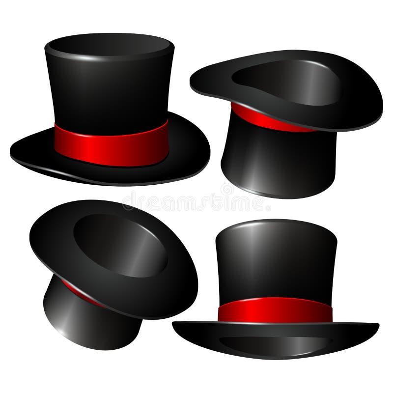 Grupo de chapéus pretos do cilindro do mágico ilustração do vetor