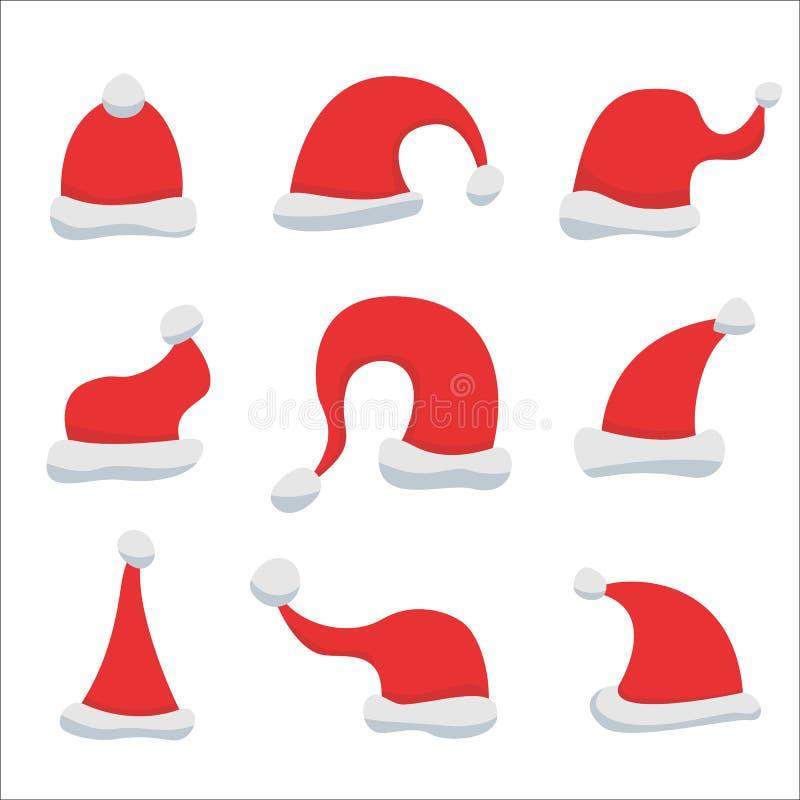 Grupo de chapéus vermelhos de Papai Noel ilustração stock