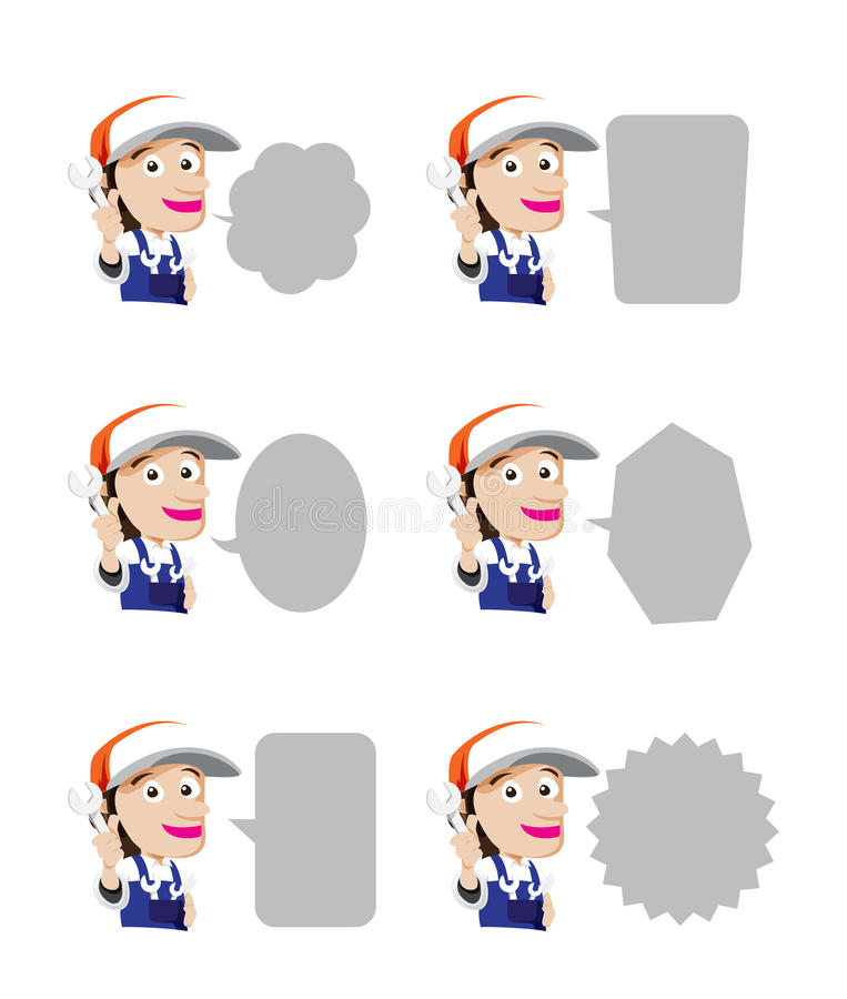 Grupo de chave dos desenhos animados do mecânico do sorriso à disposição com bolha do discurso, ilustração royalty free