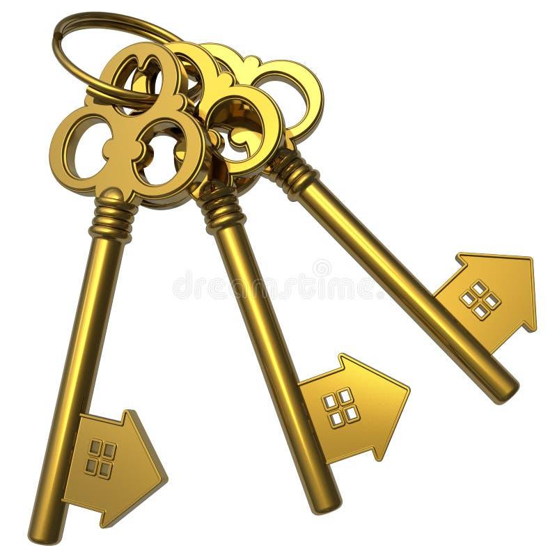 Grupo de chaves douradas da casa-forma ilustração do vetor