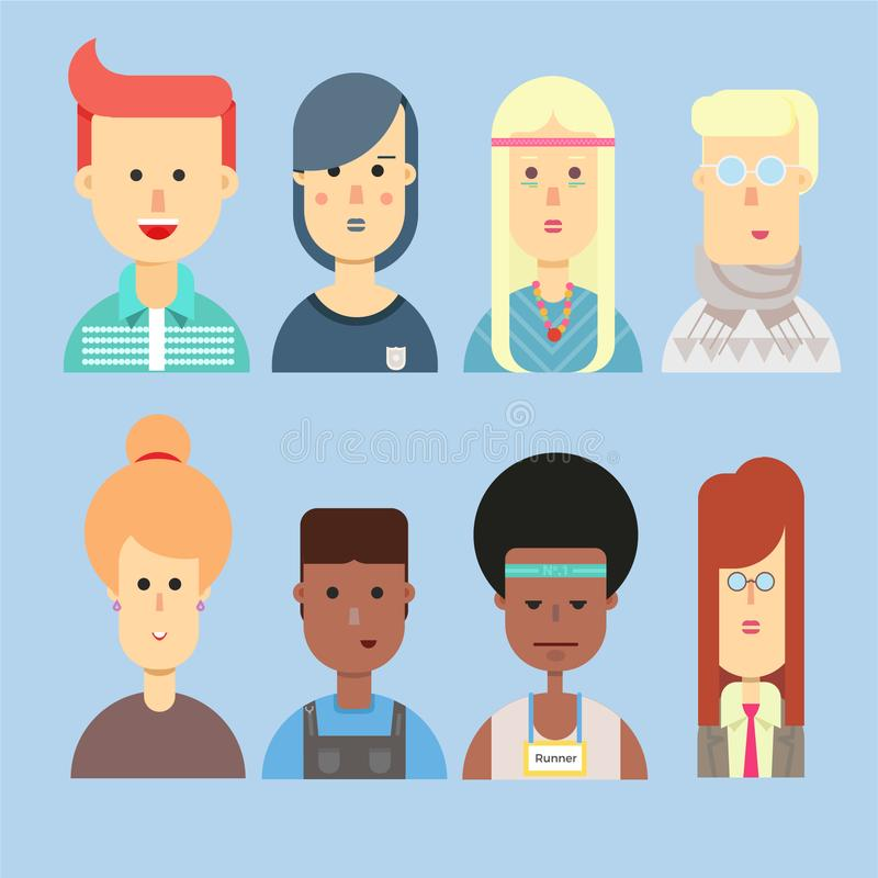 Grupo de cidadão urbano diferente do avatar liso ilustração royalty free