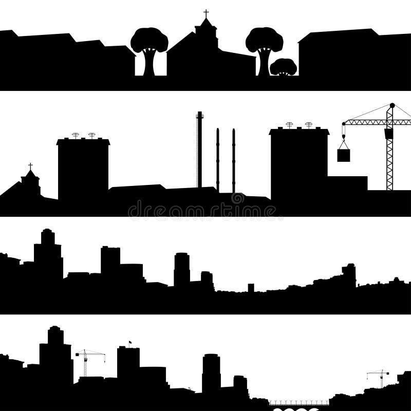 Grupo de cidade das silhuetas ilustração stock