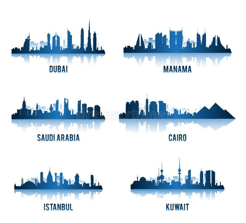 Grupo de cidades em construções famosas de Médio Oriente ilustração stock