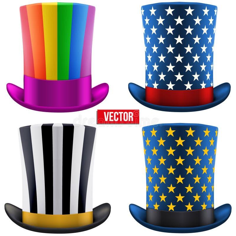 Grupo de cilindro mágico dos chapéus Ilustração do vetor ilustração stock