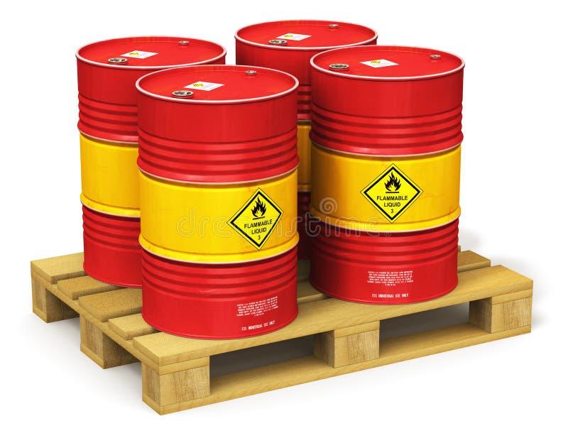 Grupo de cilindros de óleo vermelhos na pálete do transporte isolada no branco ilustração royalty free