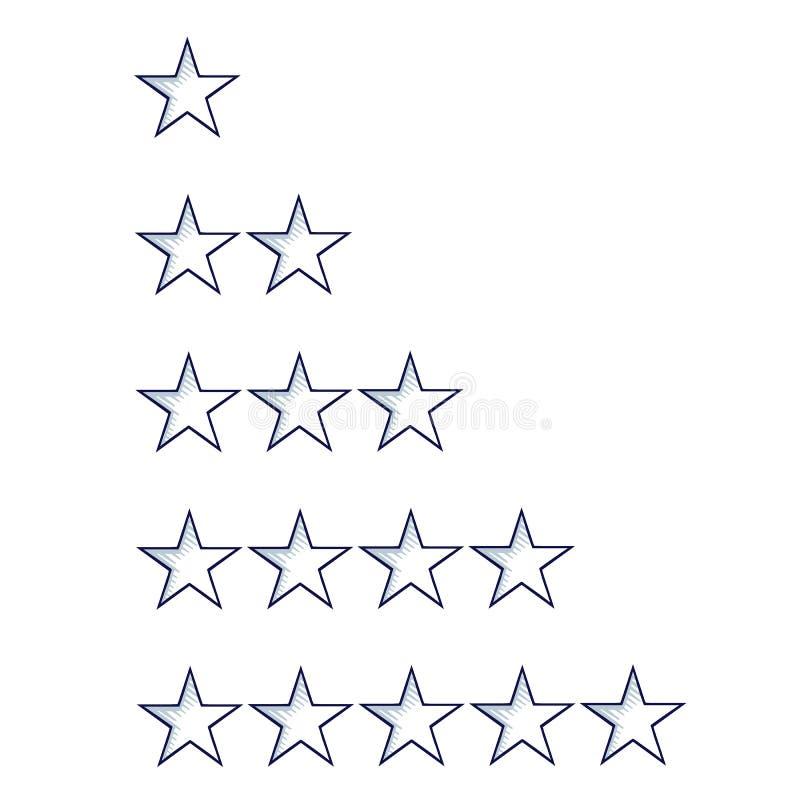 Grupo de cinco estrelas do esboço que avaliam o molde, isolado no branco ilustração stock