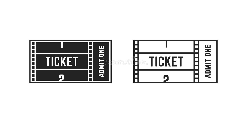 Grupo de cinema ou de bilhete em linha do filme ilustração royalty free