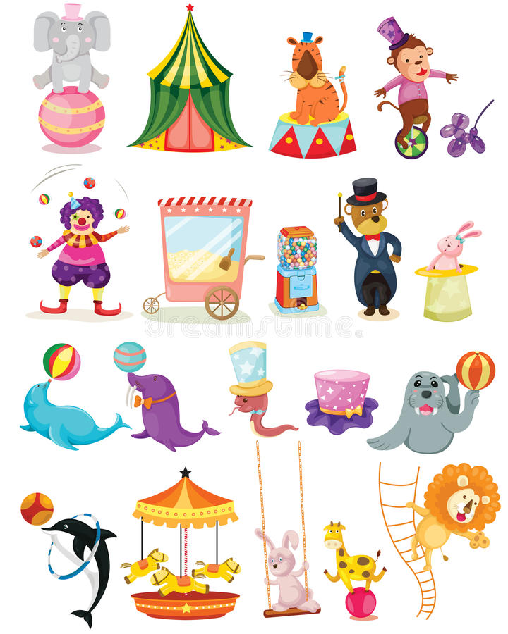 Grupo de circo ilustração royalty free