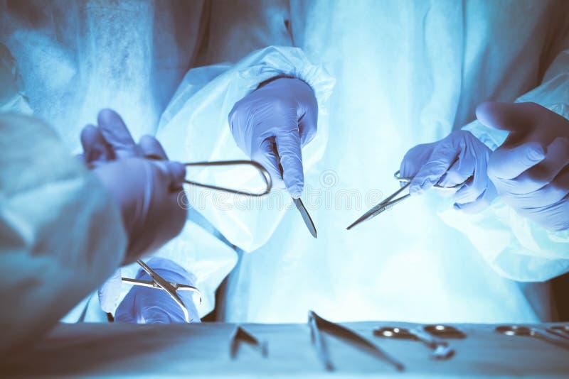 Grupo de cirujanos en el trabajo mientras que actúa en el hospital, primer de manos Atención sanitaria y concepto veterinario imagen de archivo libre de regalías
