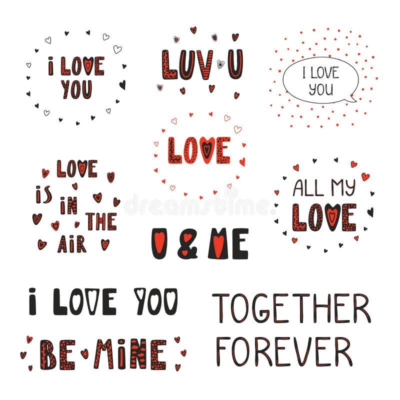 Grupo de citações do amor ilustração stock