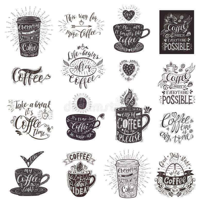 Grupo de citações do café com um copo Rotulação desenhado à mão do vetor ilustração do vetor