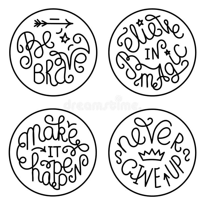 Grupo de citações inspiradas escritas à mão ilustração royalty free