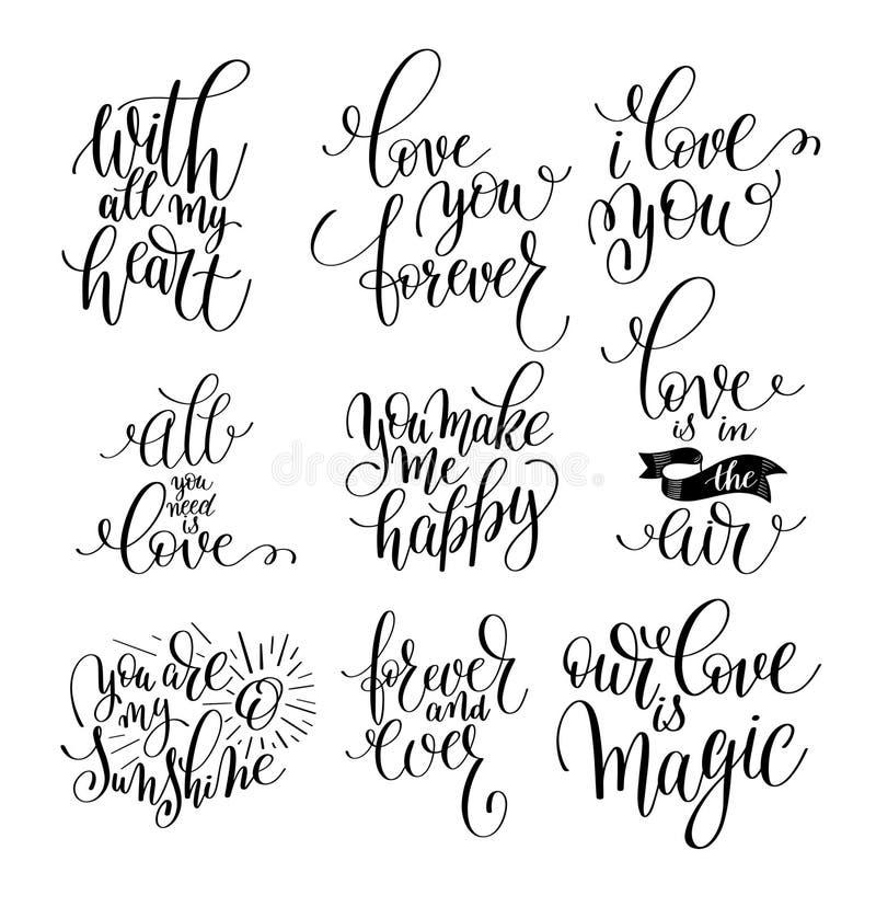 Grupo de citações positivas da rotulação escrita à mão sobre o amor a valent ilustração stock