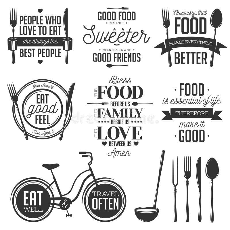 Grupo de citações tipográficas relacionadas do alimento do vintage ilustração stock