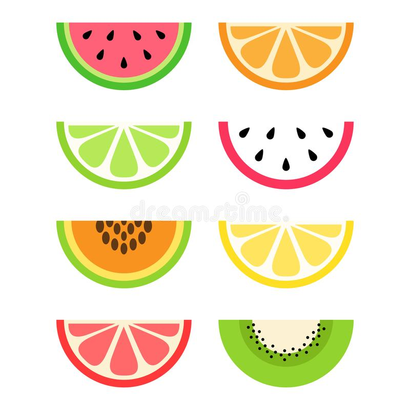 Grupo de citrino e de fatias exóticas do fruto ilustração royalty free