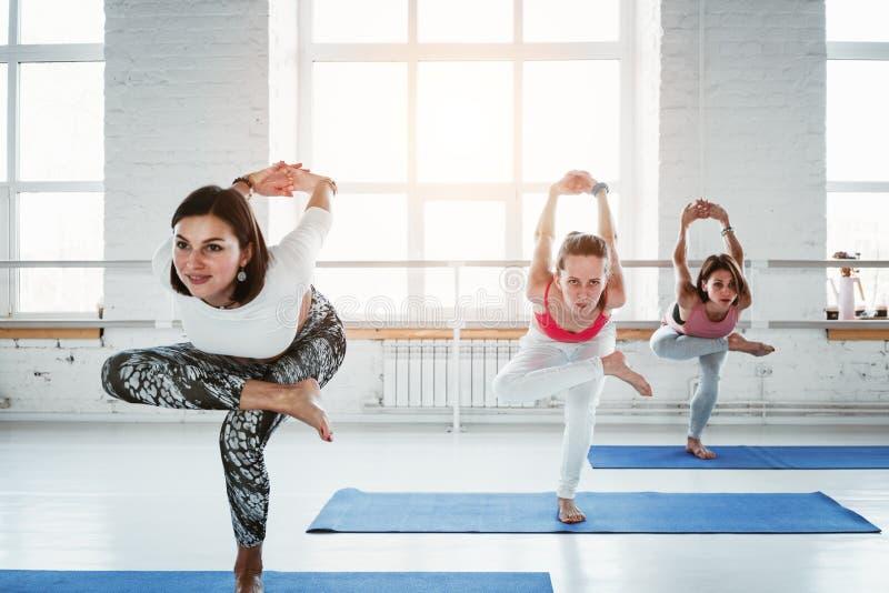 Grupo de classe interna do exercício de prática da menina da ioga junto imagens de stock