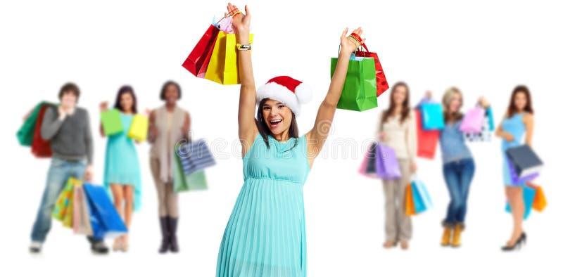 Grupo de clientes de las compras fotografía de archivo
